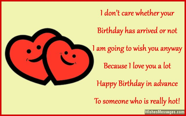 Romantic early birthday greeting card message