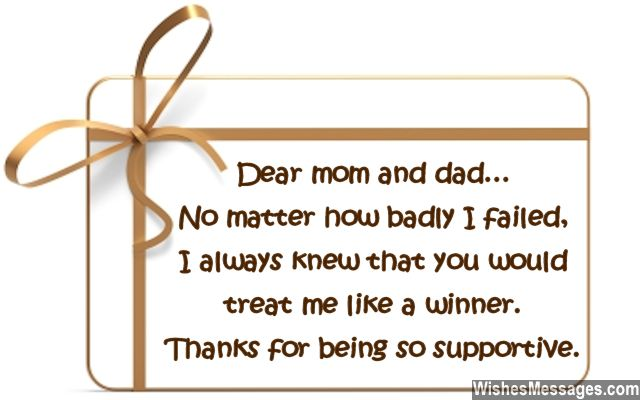 Thank You Notes For Parents Messages For Mom And Dad