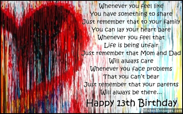13th Birthday Wishes for Son or Daughter WishesMessages – 13th Birthday Greetings