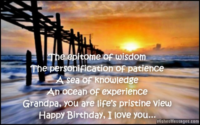Sweet birthday greeting card wishes for grandpa