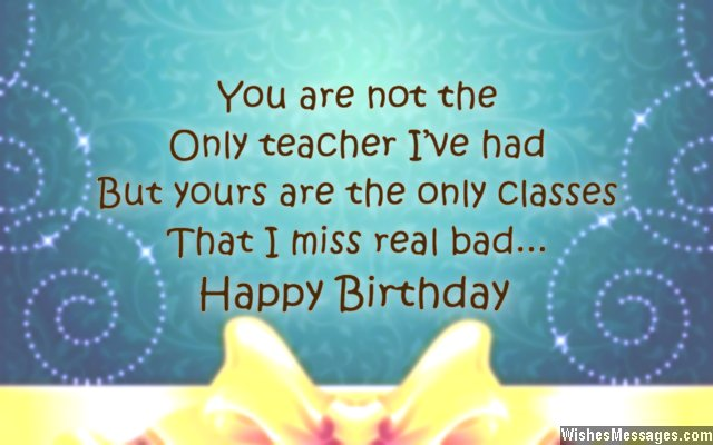 Sweet birthday greeting to a teacher from an ex-student