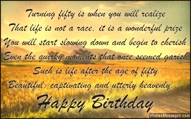 Sweet birthday quote for 50 year old