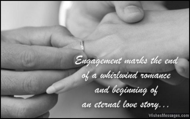 Sweet engagement card congratulations message