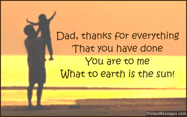 Sweet note to say thank you to dad - from a son or daughter