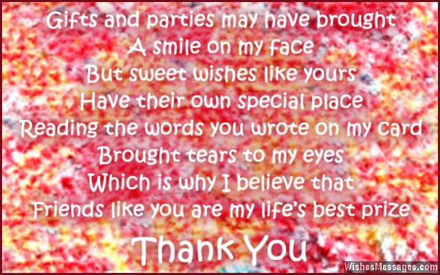 Sweet Thank You Note For Birthday Greetings