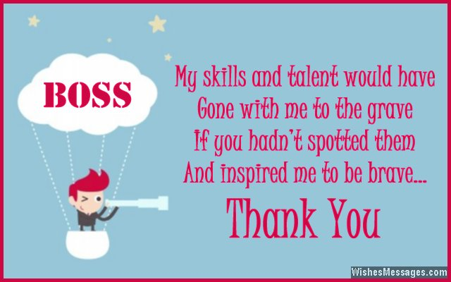 Thank you card message to boss from employee
