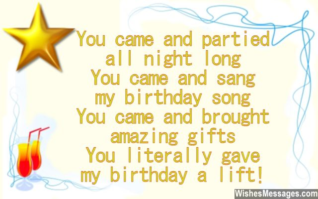 Cute thank you card note for coming to birthday party