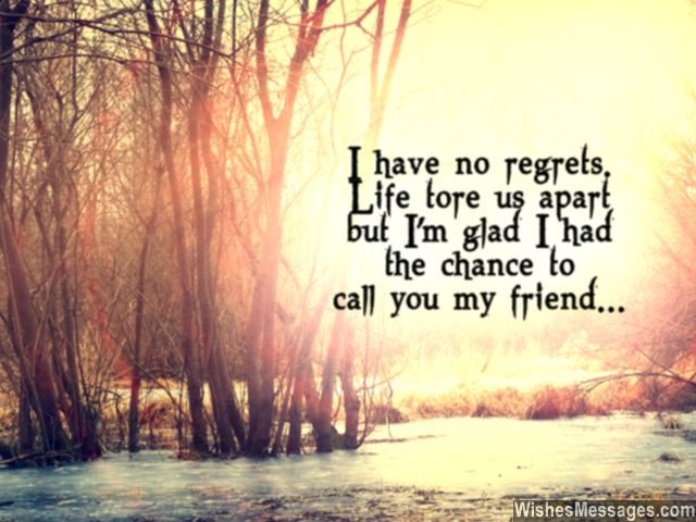 Friendship quote i miss my friend no regrets
