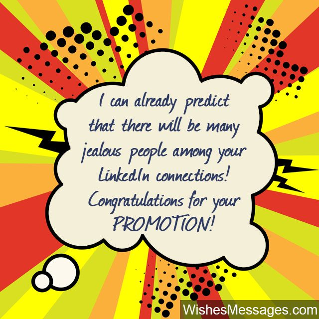 LinkedIn message congratulations for promotion at work