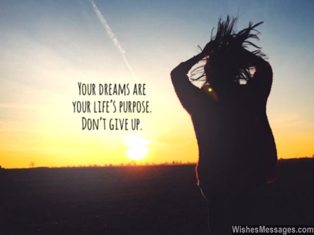 Never give up on your dreams quote life's purpose