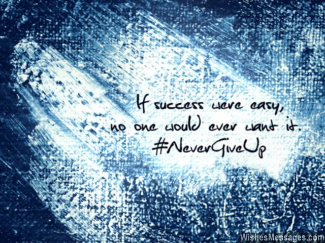 Never give up quote success is not easy