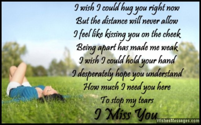 Romantic I miss you poem to boyfriend from his girlfriend