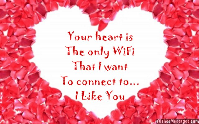 Sweet I like you quote for her on a heart