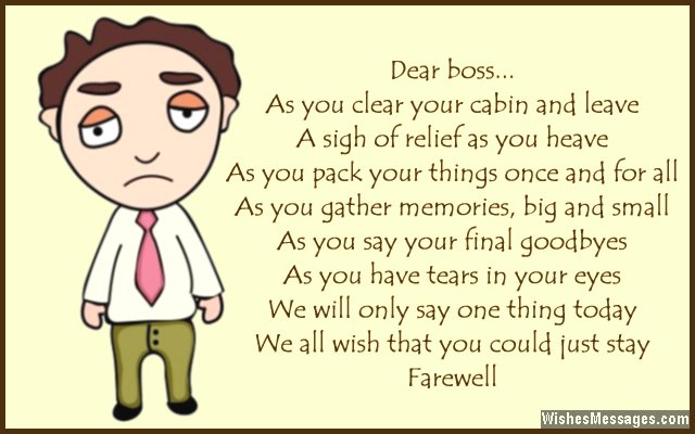 Farewell Poems For Boss Goodbye Poems  WishesmessagesCom
