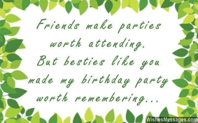 Thank you for coming to my birthday party greeting card quote