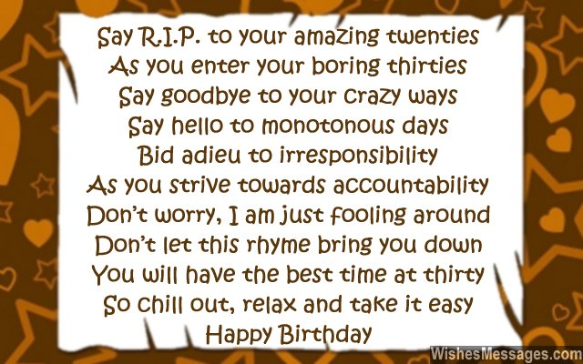 30th Birthday Poems WishesMessages