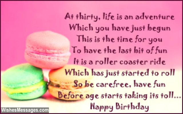 30th Birthday Poems WishesMessages – Funny 30th Birthday Greetings