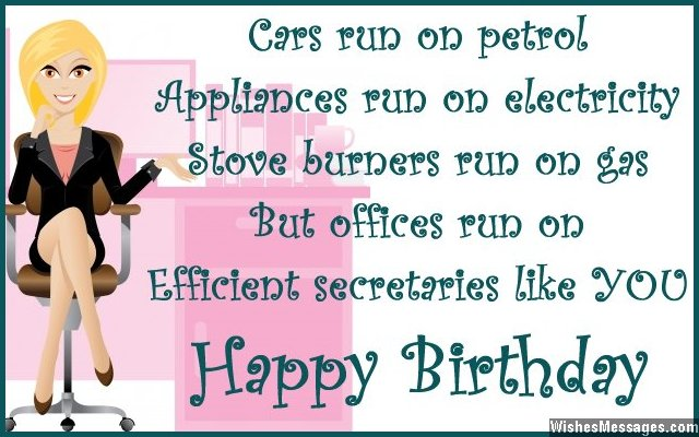 Funny birthday wish for a secretary