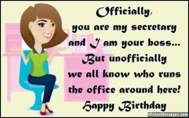 Humorous birthday quote to secretary in office