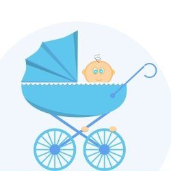Little baby boy in pram cartoon