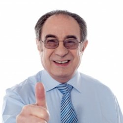 Retiring boss giving thumbs up sign