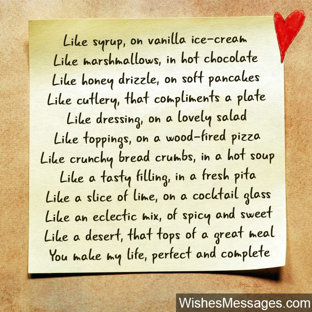 Romantic poem about food hot chocolate ice cream spicy sweet