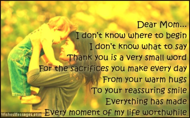 Thank You Mom Messages And Quotes  WishesmessagesCom