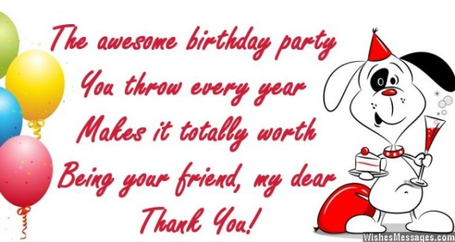 Thank you message to a friend for birthday party