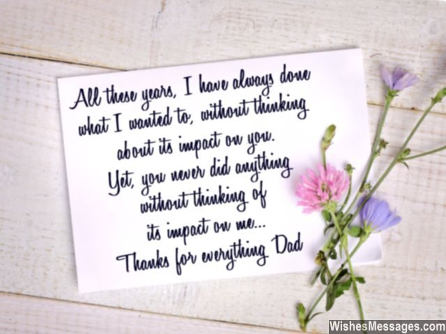 Thanks for everything dad sweet note for fathers greeting card