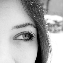 A woman's beautiful eye in black and white