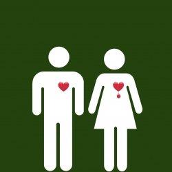 Cute cartoon of guy and girl with a bleeding heart