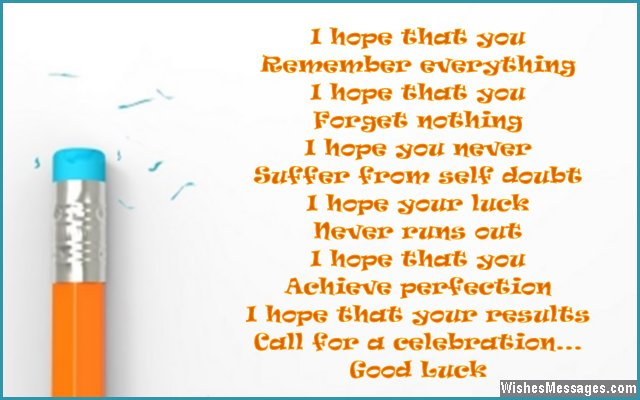 Cute good luck poem for students during exams
