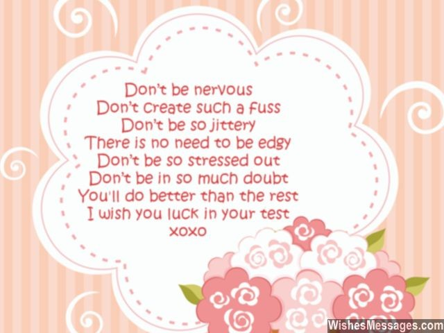 Exam best wishes poem good luck for test