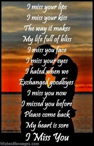I miss you poem to girlfriend from boyfriend