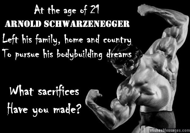 Inspirational bodybuilding quote about Arnold Schwarzenegger
