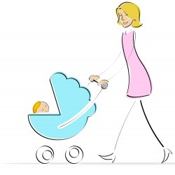 Mother pushing a stroller cartoon
