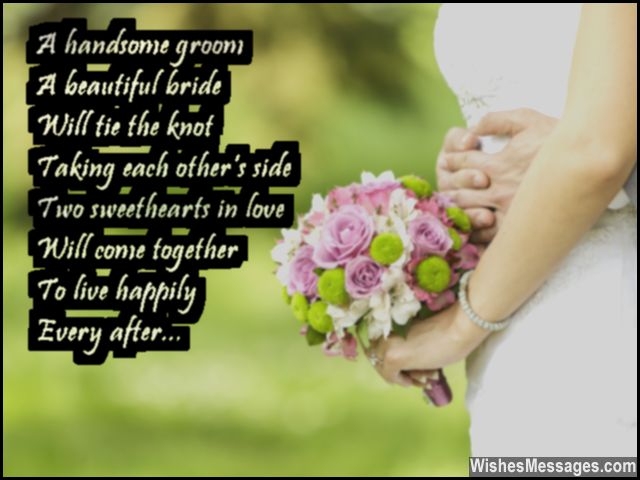 Sweet wedding wish to congratulate bride and groom