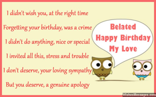 belated birthday poems for wife late birthday poems for her, Birthday card