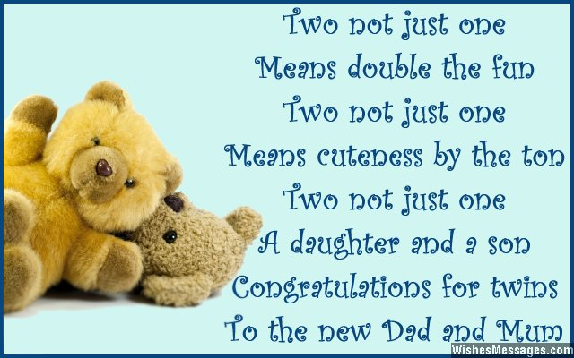 Congratulations card message for having twins