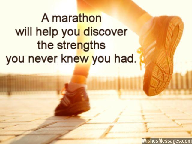 Encouragement for marathon runners good luck greeting card message