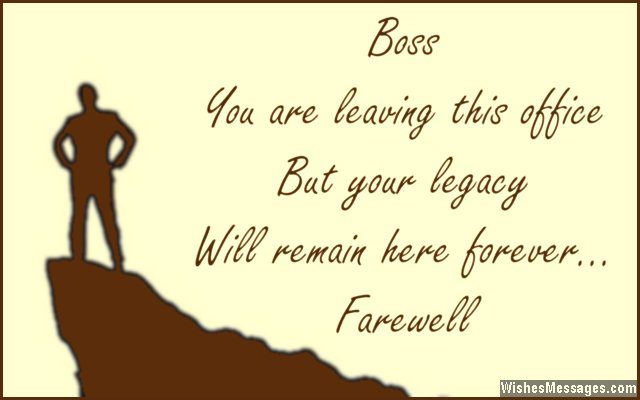 Farewell greeting card quote for boss from colleagues