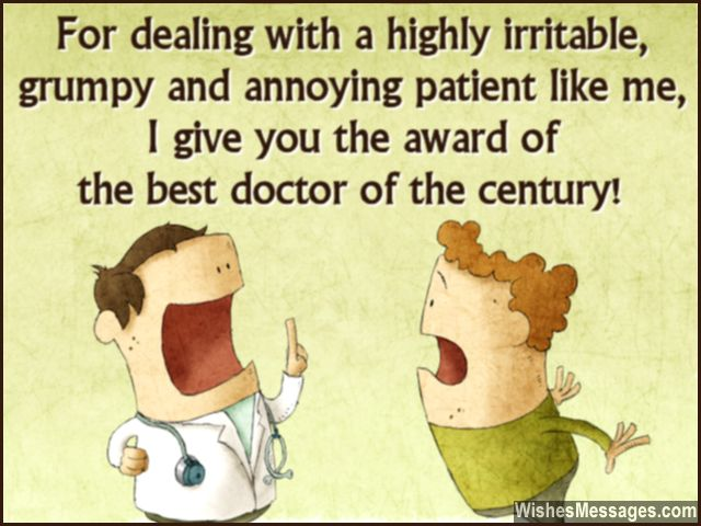 Funny message to say Thanks to a doctor from patient