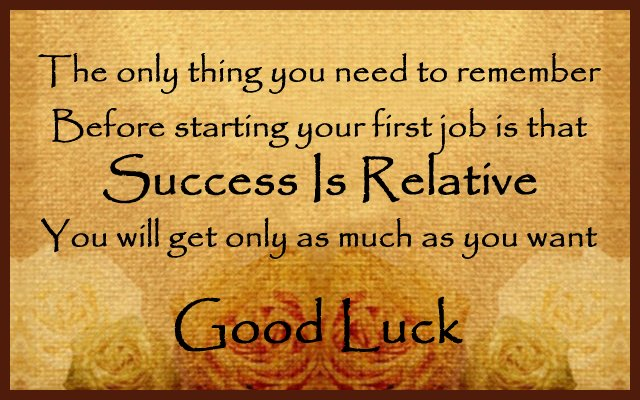 Good luck card message for first job