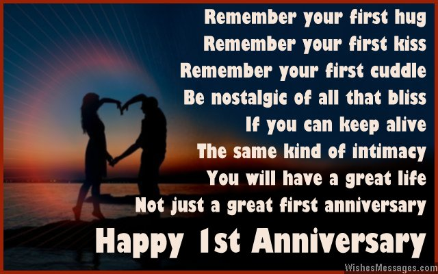 Happy 1st anniversary card poem for couples