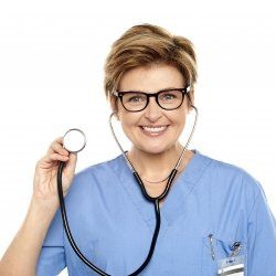 Lady doctor holding up a stethoscope