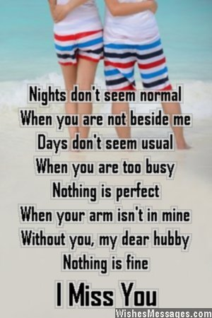 Sweet I miss you poem to husband from wife