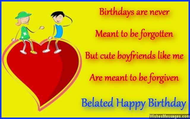 Sweet Belated Birthday Card Wish To Girlfriend From Boyfriend