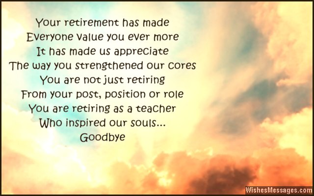 Teacher Retirement Poems And Quotes. QuotesGram