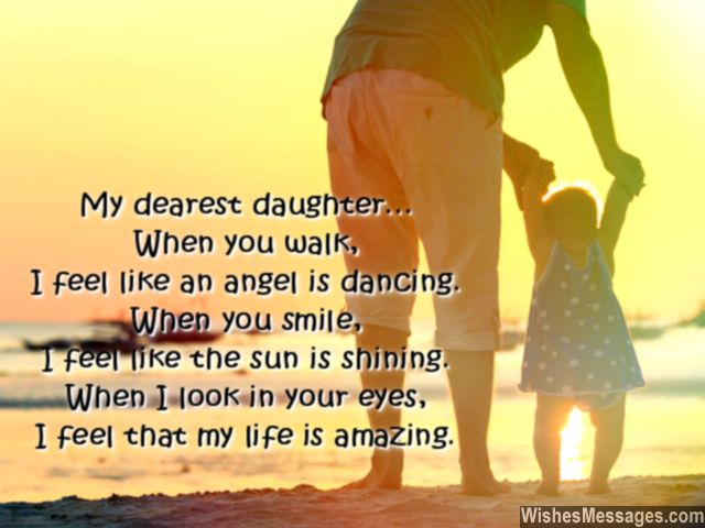 Sweet love message and quote for daughter from her daddy