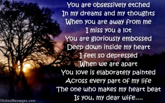 Sweet missing you poem to wife from husband